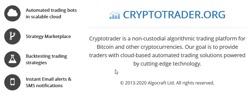 Crypto Trader functions screen